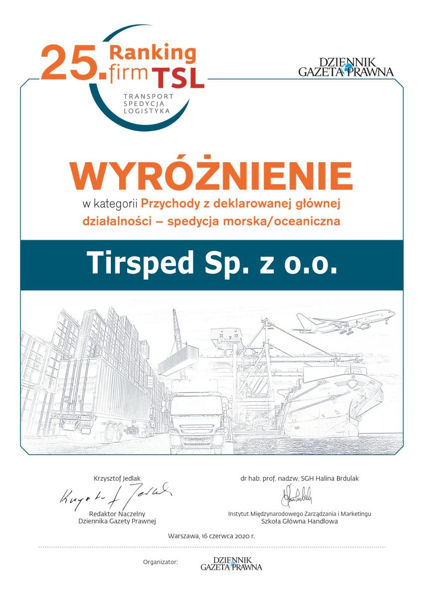 Ranking firm TSL 2020 - Dyplom dla Tirspedu