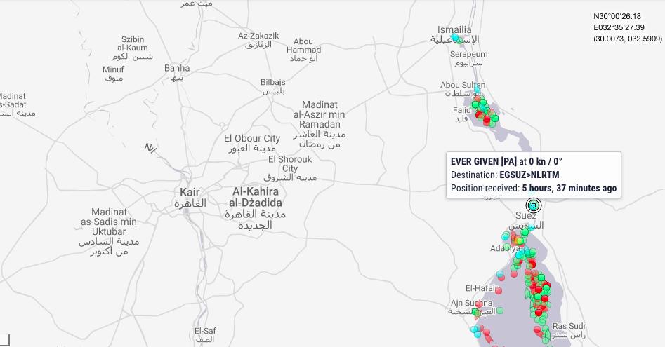 Sytuacja w Kanale Sueskim. Dostęp: 26.03.2021